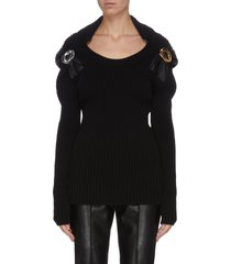 hooded metal buckle embellished rib knit top