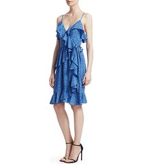 ruffled silk wrap dress