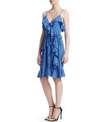 ruffled silk wrap dress