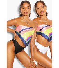 2 pack high leg high waist bikini brief, black