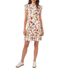 cece garden floral flutter sleeve stretch crepe dress, size x-small in soft ecru at nordstrom