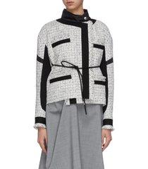 asymmetric gather back tweed jacket