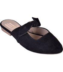 "zapatos baletas cómodos para mujer ""erika"" con nudo de lazo negro"