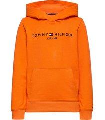 essential hoodie hoodie trui oranje tommy hilfiger