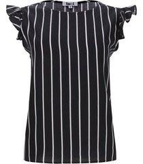 blusa a rayas con arandelas color negro, talla m