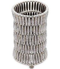 'almond' swarovski crystal five row plate elastic bracelet