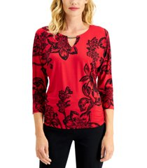 jm collection petite keyhole dolman-sleeve top, created for macy's