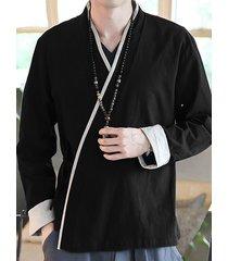 incerun hombres vendimia cárdigan de abrigo de algodón de lino con kimono japonés