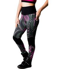 calça adamas fitness preta cintural alta estampada