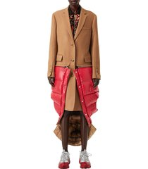 women's burberry 2-in-1 camel hair coat with reversible puffer vest, size 2 - brown