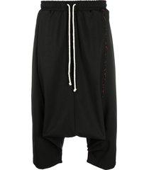 alchemy drop-crotch contrast-stitch trousers - black