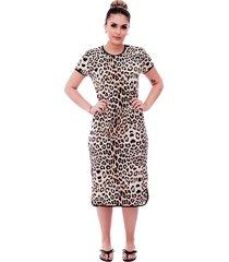 camisola ficalinda midi manga curta 3 em 1 com estampa animal print de onça e viés preto.