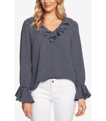 cece geo-print ruffled-neck top