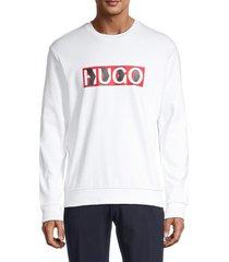 hugo hugo boss men's graphic logo cotton sweatshirt - white - size m
