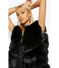 luxe faux fur panelled gilet, black
