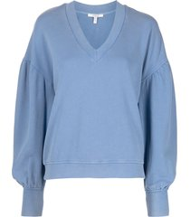 derek lam 10 crosby v-neck drop-shoulder sweatshirt - blue
