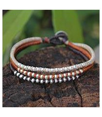 silver accent braided bracelet, 'cool thai autumn' (thailand)