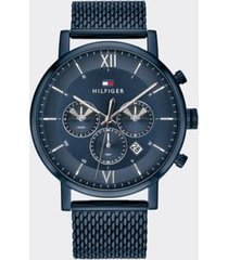 tommy hilfiger men's sub-dials ion-plated watch wi mesh bracelet blue -