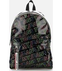 tommy jeans women's logo tape backpack - black print