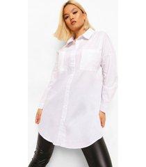 petite oversized witte boyfriend blouse, white