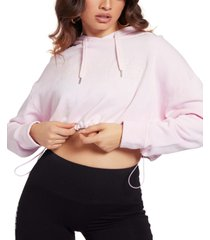 guess cotton cropped drawcord-waist hoodie