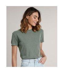 t-shirt feminina mindset manga curta decote redondo verde militar