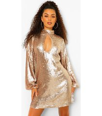 gesmokte jurk met pailletten, hoge hals en uitsnijding, champagne