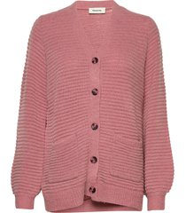 ebba cardigan stickad tröja cardigan rosa modström