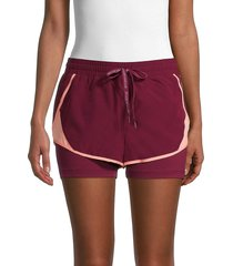 spyder women's layered active shorts - tawny port - size l