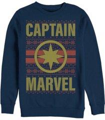 marvel men's captain marvel chest logo ugly sweater, crewneck fleece