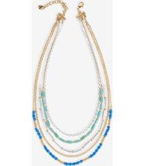 "lucky brand two-tone multi-bead convertible layered necklace, 13-1/2"" + 3"" extender"