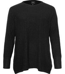 knitted blouse plus long sleeves round neck stickad tröja svart zizzi