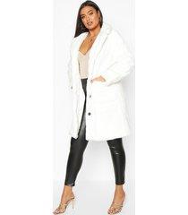 plus supersoft faux fur button through coat, white