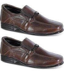 kit 2 pares de sapato social leoppé infantil couro - masculino