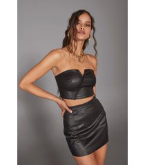 womens strapless faux leather corset top - black