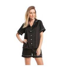 pijama feminino curto de manga curta satin preto