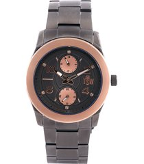 reloj gris plata-oro rosa technosport