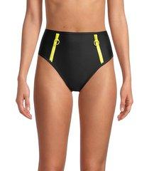 dkny women's high-waist scuba bikini bottom - black - size s