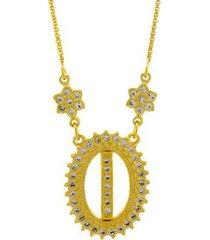 colar horus import letra i zircônia banhado ouro 18k feminino