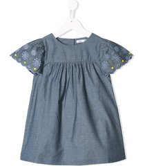 knot embroidered chambray dress - blue