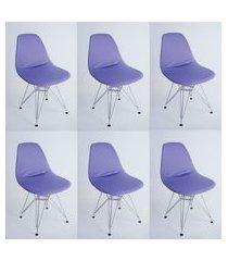 kit com 06 capas para cadeira base madeira eiffel wood lilas