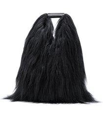 mm6 maison margiela fur look tote bag - black