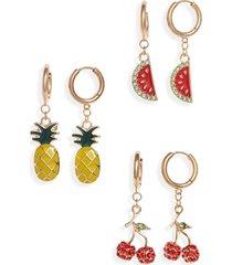 women's bp. 3-pack fruit drop huggie earrings