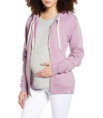 women's bun maternity mama fleece maternity zip hoodie, size large - purple