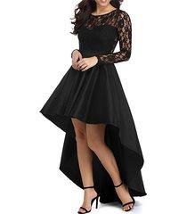 high low black prom dress gown long sleeves,evening dress,formal dress cheap