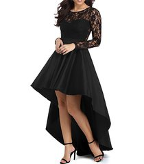 high low black prom dress gown long sleeves,evening dress,formal dress cheap