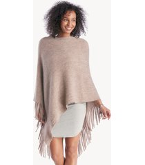 women's striped kit poncho with fringe dusty pink one size from sole society