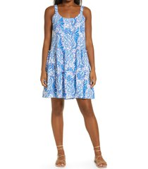lilly pulitzer(r) loro sleeveless cotton sundress, size large in baha blue bird is the word at nordstrom