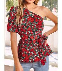 camicetta a maniche corte con stampa floreale a spalla irregolare one con cintura