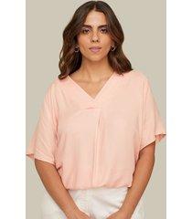 blusa manga corta escote v con pliegues-18